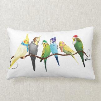 Christmas Parakeets & Cockatiels Lumbar Cushion
