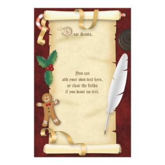 Christmas Parchment Scroll Letter to Santa Stationery