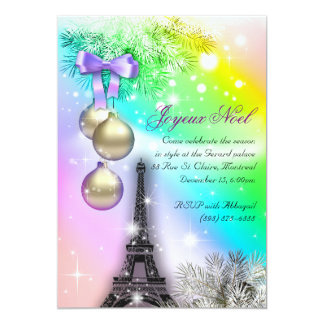 Christmas Paris Card Eiffel Tower Snow 2 13 Cm X 18 Cm Invitation Card