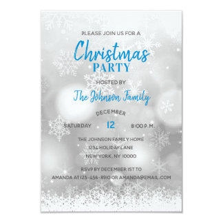 CHRISTMAS PARTY Blue Silver White Snowflakes Snow Card