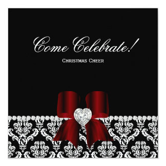 Christmas Party Damask Red BW Jewel Bow 2 13 Cm X 13 Cm Square Invitation Card