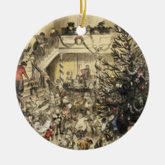Christmas Party Round Ceramic Decoration