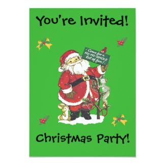Christmas Party Fun Santa Tree Little Animals Card