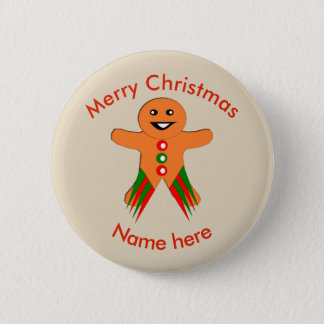 Christmas Party Gingerbread Man Custom Button