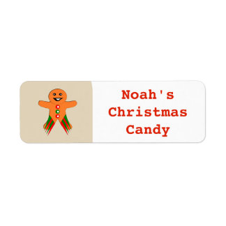 Christmas Party Gingerbread Man Custom Food Label Return Address Label