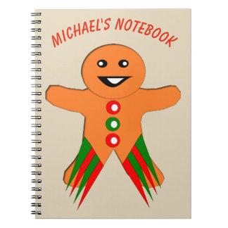 Christmas Party Gingerbread Man Custom Notebook