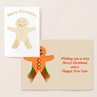 Christmas Party Gingerbread Man Foil Card