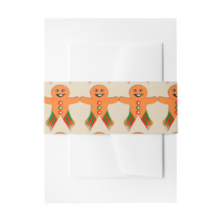 Christmas Party Gingerbread Man Invite Belly Band Invitation Belly Band