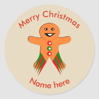 Christmas Party Gingerbread Man Stickers