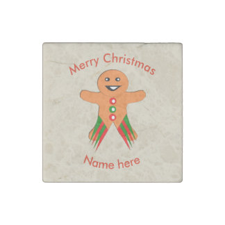 Christmas Party Gingerbread Man Stone Magnet