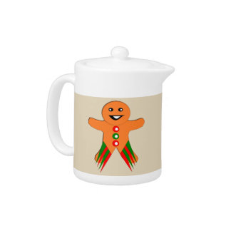 Christmas Party Gingerbread Man Teapot