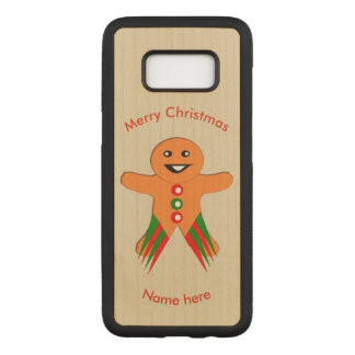 Christmas Party Gingerbread Man Wooden Phone Case
