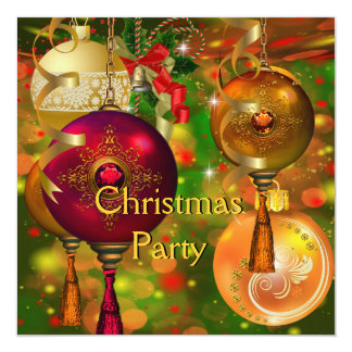 Christmas Party Gold Green Red Xmas Decorations 13 Cm X 13 Cm Square Invitation Card