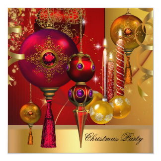 Christmas Party Gold Red Xmas Decorations Greeting 13 Cm X 13 Cm Square Invitation Card