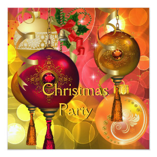 Christmas Party Gold Yellow Green Red Xmas 13 Cm X 13 Cm Square Invitation Card