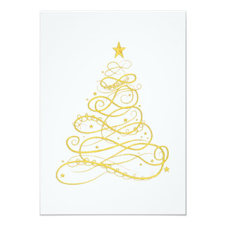 Christmas Party - Golden Filigree Christmas Tree Card