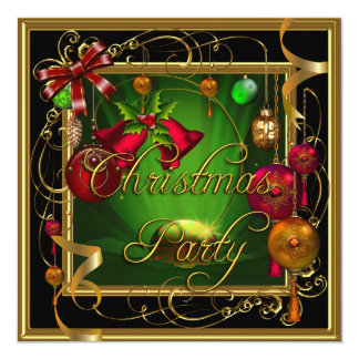 Christmas Party Green Red Xmas Invitation