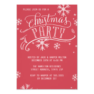 Christmas Party Holiday Snowflakes Red Card