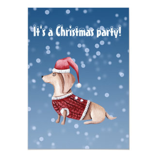Christmas Party Invitation Dachshund Design