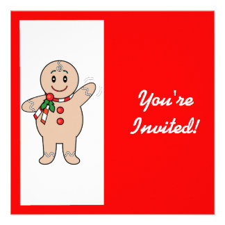 Christmas Party Invitation Gingerbread Boy