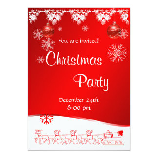 Christmas Party invitation on red background