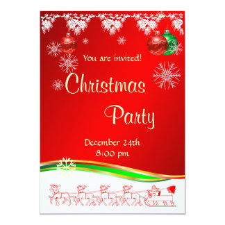 Christmas Party invitation on red white and green