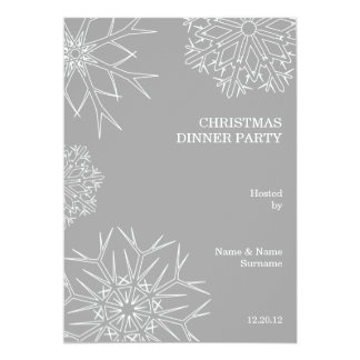 Christmas Party Invitation with Snowflakes - Gray