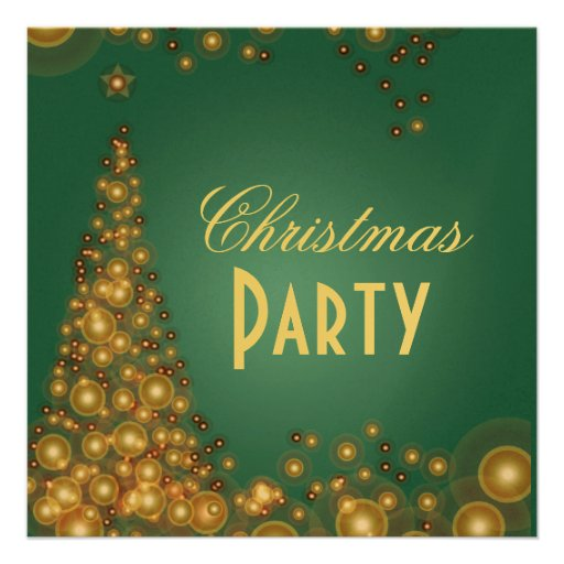 Christmas Party invitations, champagne bubbles