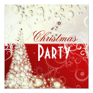 Christmas Party invitations, champagne bubbles 13 Cm X 13 Cm Square Invitation Card
