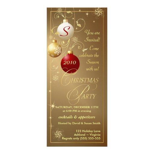 Christmas Party Invitations-Elegant Gold Monogram