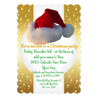 Christmas Party Invitations gold with Santa Claus
