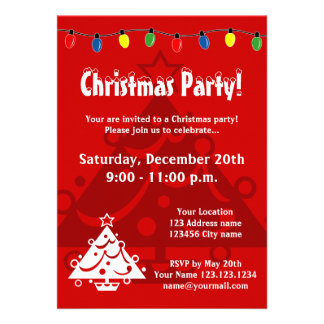Christmas party invitations with Xmas tree lights