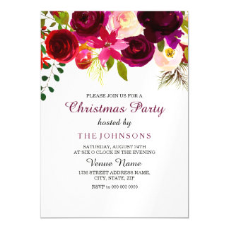 Christmas Party Invite: Burgundy Red Floral boho Magnetic Card