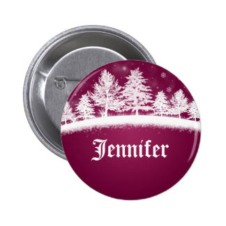 Christmas Party Name Tags Hot Pink 6 Cm Round Badge