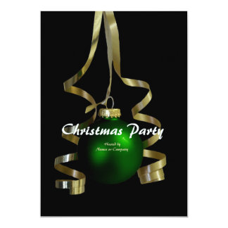 Christmas party ornament elegant tree ribbon 13 cm x 18 cm invitation card