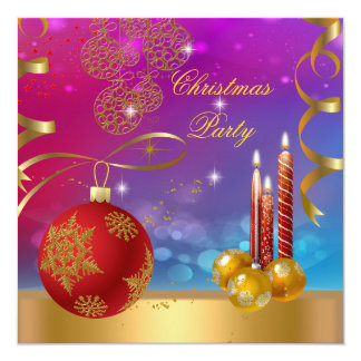 Christmas Party Pink Blue Gold Red Xmas Balls 13 Cm X 13 Cm Square Invitation Card
