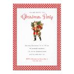 Christmas Party Red White Polka Dots Vintage Santa 13 Cm X 18 Cm Invitation Card