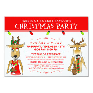 "Christmas Party Reindeer with Drinks Invite 5"" X 7"" Invitation Card"