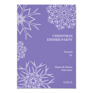 Christmas Party RSVP with Snowflakes - Purple 3.5x5 Paper Invitation Card
