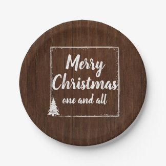 Christmas Party | Rustic Wood Snow Merry Christmas Paper Plate