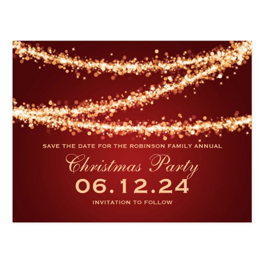 Christmas Party Save The Date Gold String Lights Postcard