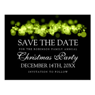 Christmas Party Save The Date Green Bokeh Lights Postcard
