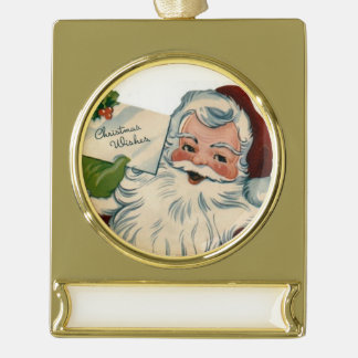 Christmas Party Sparkle Santa Claus Workshop Gold Plated Banner Ornament
