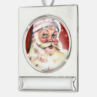 Christmas Party Sparkle Santa Claus Workshop Silver Plated Banner Ornament