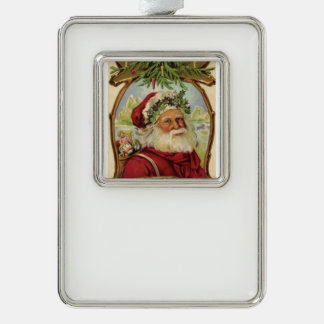 Christmas Party Sparkle Santa Claus Workshop Silver Plated Framed Ornament