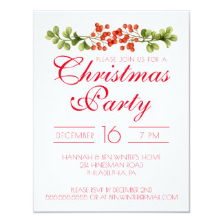 Christmas Party | Watercolor Red Holly Berries Card