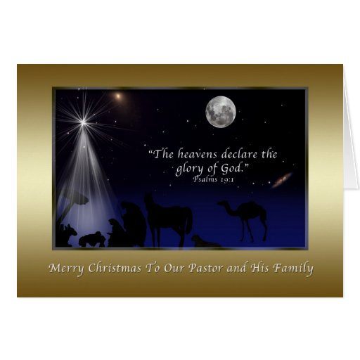 Christmas, Pastor and Family, Religious, Nativity Greeting Card