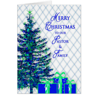 Christmas, Pastor & Family, Blue/Tree, Christian Card