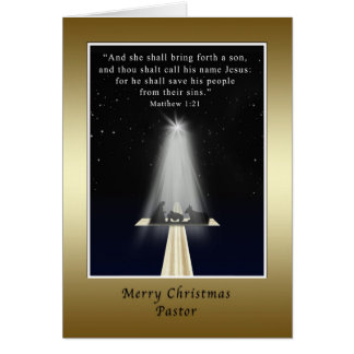 Christmas,  Pastor, Religious, Nativity and Cross Greeting Card