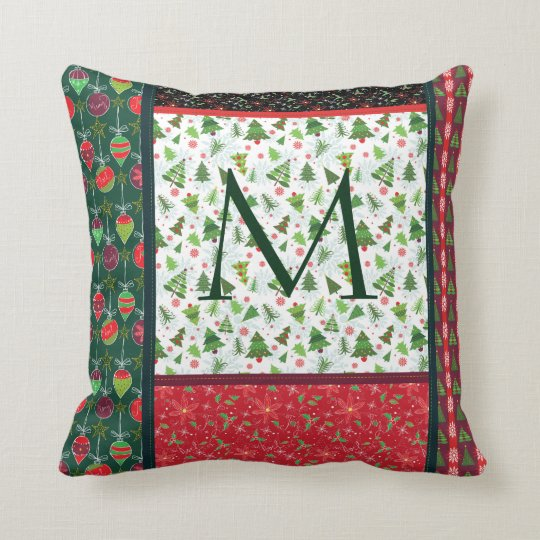 Christmas Patch Monogram pillow, Country Xmas Cushion